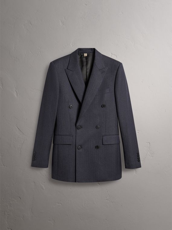 Slim Fit Double-breasted Herringbone Wool Suit in Ink Blue - Men | Burberry Canada - cell image 3