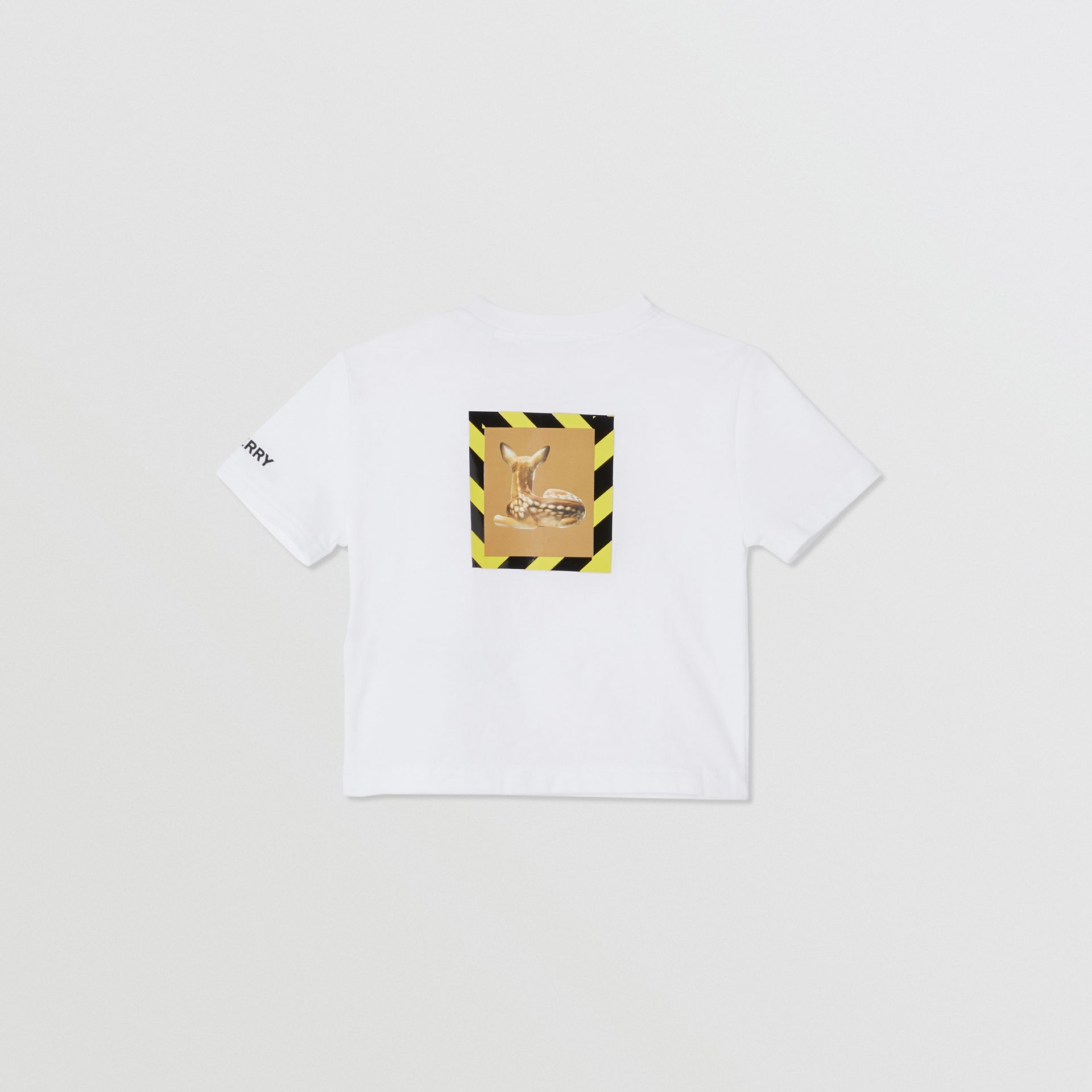 Deer Print Cotton T-shirt in White - Children | Burberry United Kingdom - gallery image 3