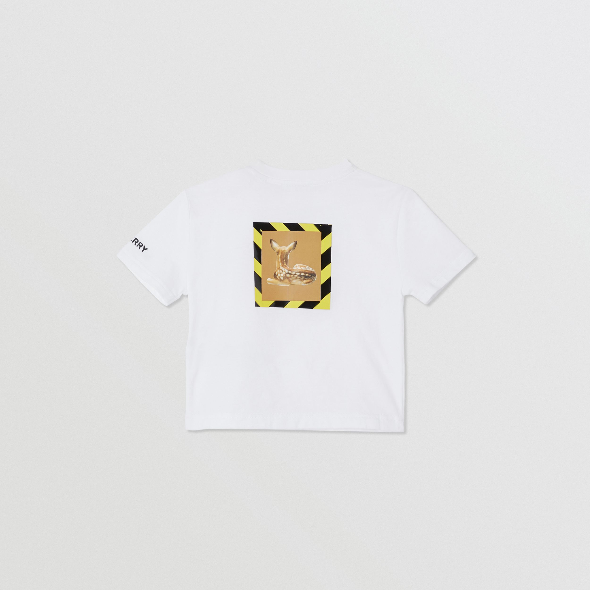 Deer Print Cotton T-shirt in White - Children | Burberry - 4