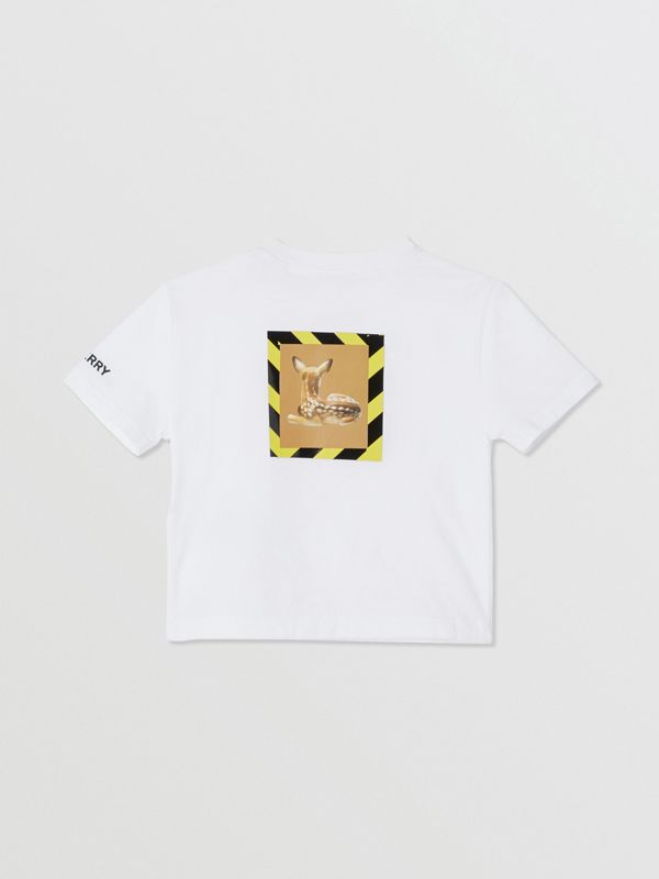 Deer Print Cotton T-shirt in White - Children | Burberry United Kingdom - cell image 3