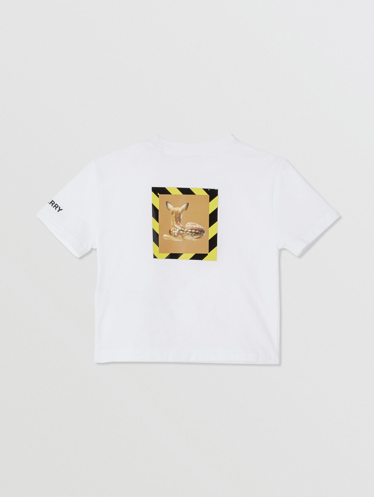 Deer Print Cotton T-shirt in White