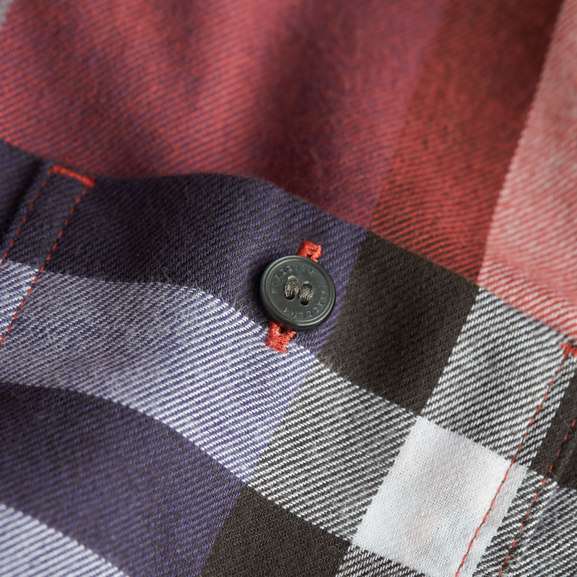 Pocket Detail Check Flannel Shirt in Orange Red - Boy | Burberry - gallery image 2