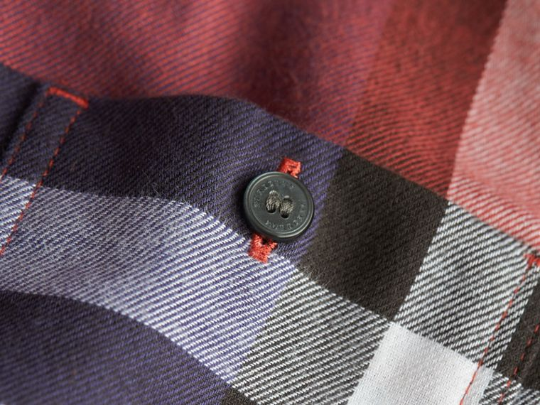 Pocket Detail Check Flannel Shirt in Orange Red - Boy | Burberry Canada - cell image 1