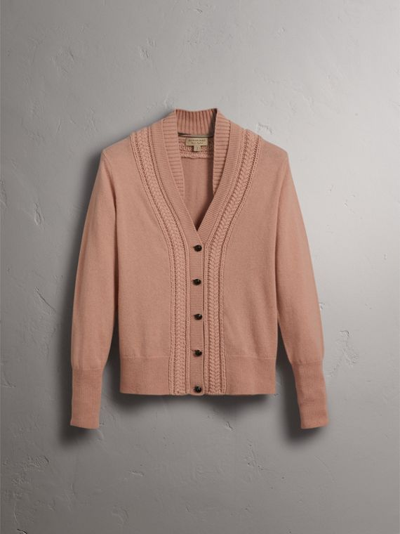Cable Knit Detail Cashmere Cardigan in Apricot Pink - Women | Burberry - cell image 3