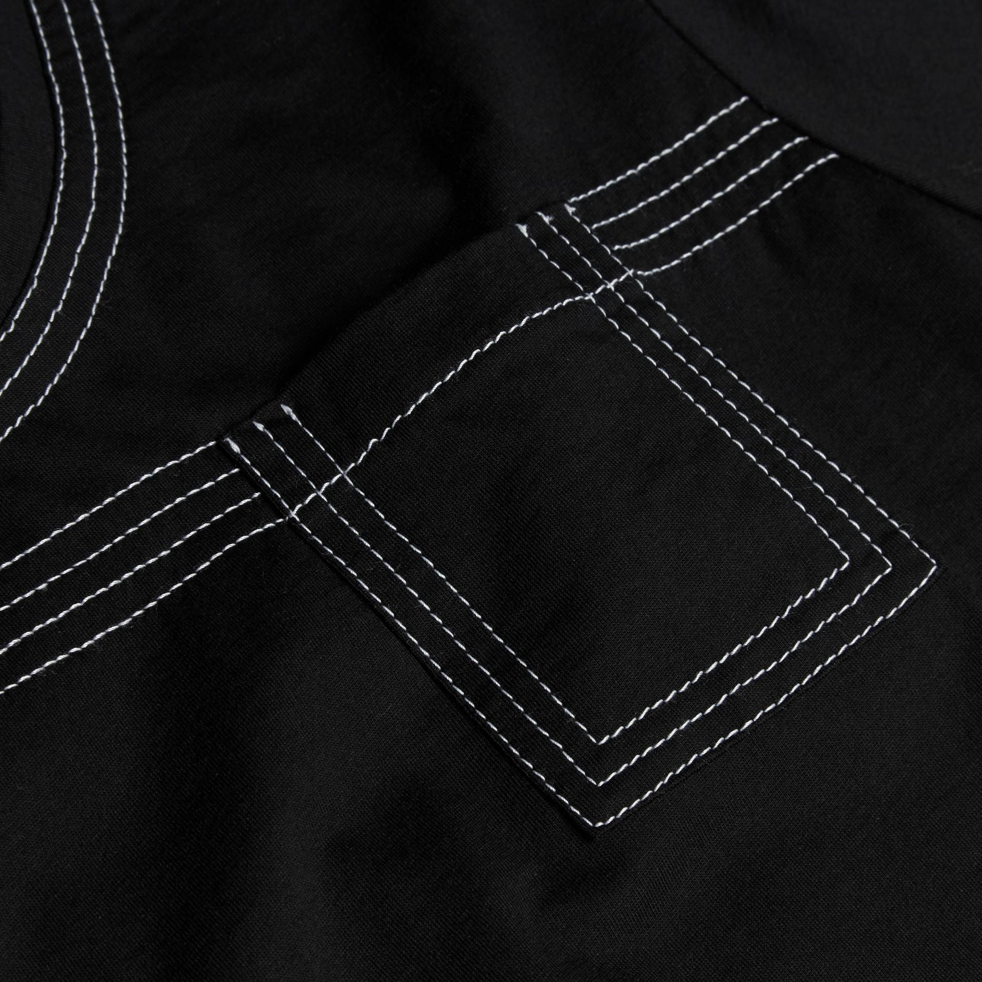Nero T-shirt in cotone con impunture Nero - immagine della galleria 2
