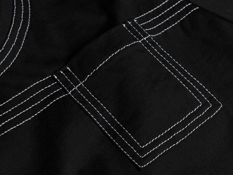 Black Topstitch Detail Cotton T-shirt Black - cell image 1