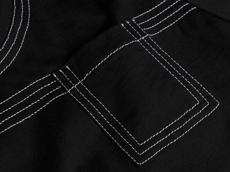 Nero T-shirt in cotone con impunture Nero - cell image 1