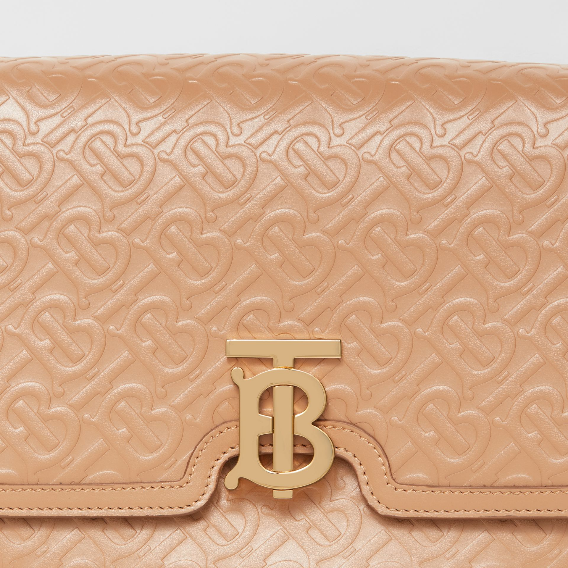 Medium Monogram Leather TB Bag in Light Camel - Women | Burberry United Kingdom - gallery image 1