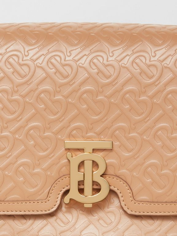 Medium Monogram Leather TB Bag in Light Camel - Women | Burberry United Kingdom - cell image 1