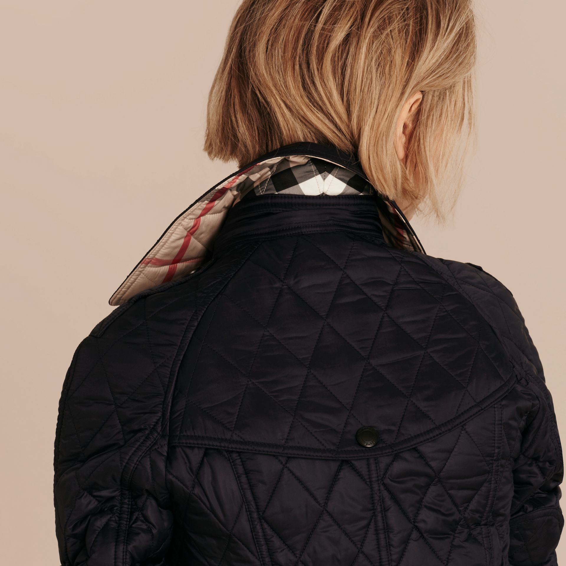 Quilted Trench Jacket with Detachable Hood in Ink - gallery image 6