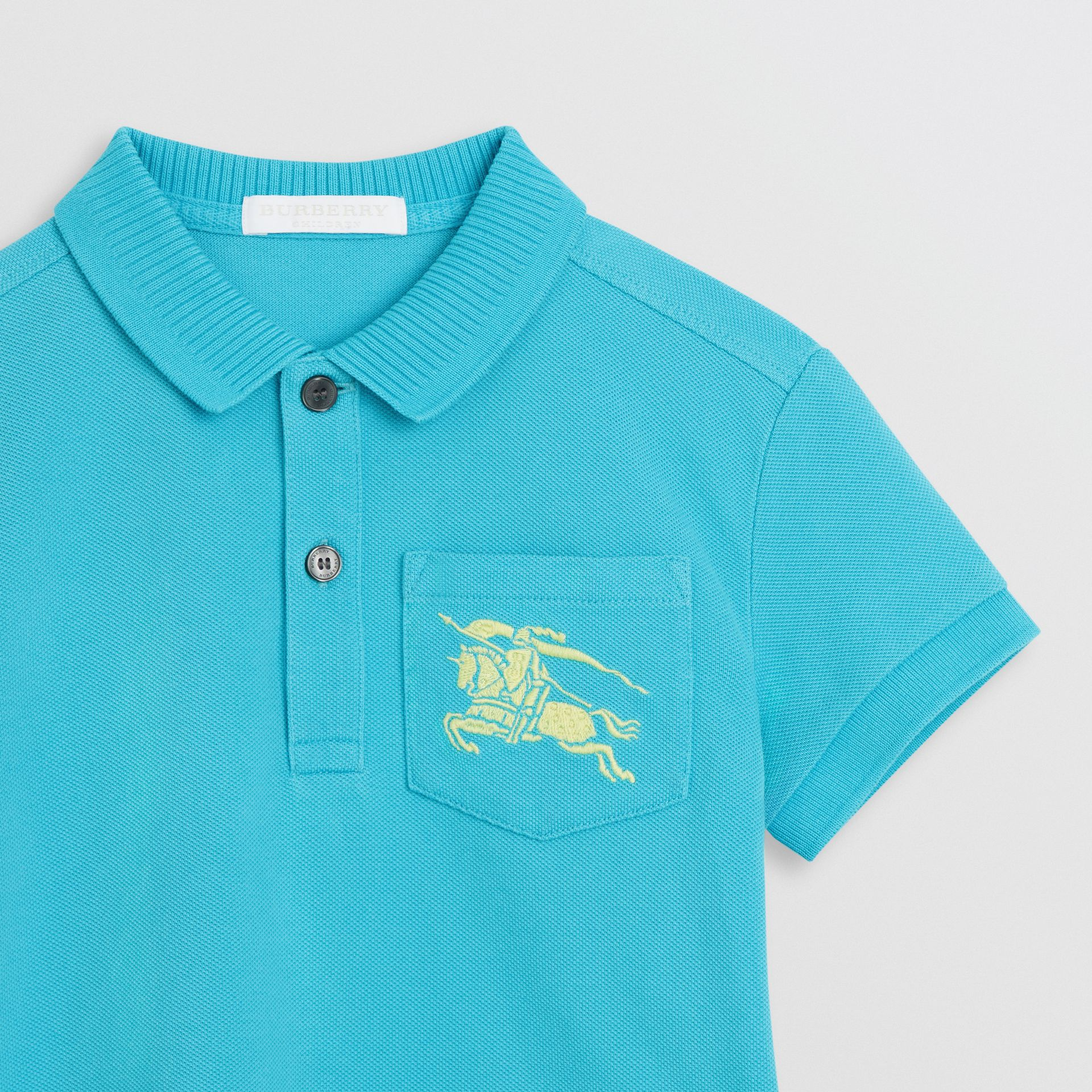 EKD Logo Cotton Piqué Polo Shirt in Bright Cyan Blue - Children | Burberry - gallery image 4