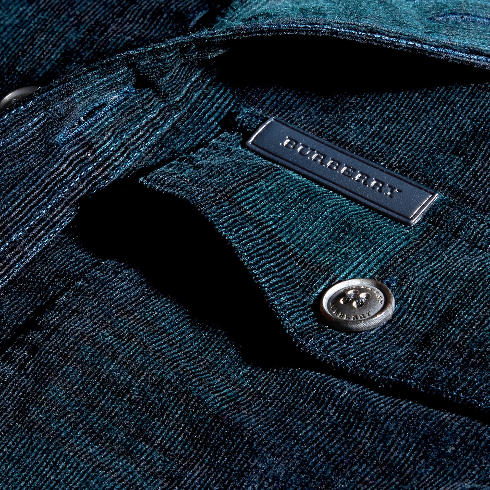 Noir marine Chemise en coton côtelé à motif check - photo de la galerie 2