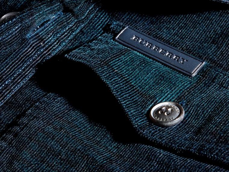 Noir marine Chemise en coton côtelé à motif check - cell image 1
