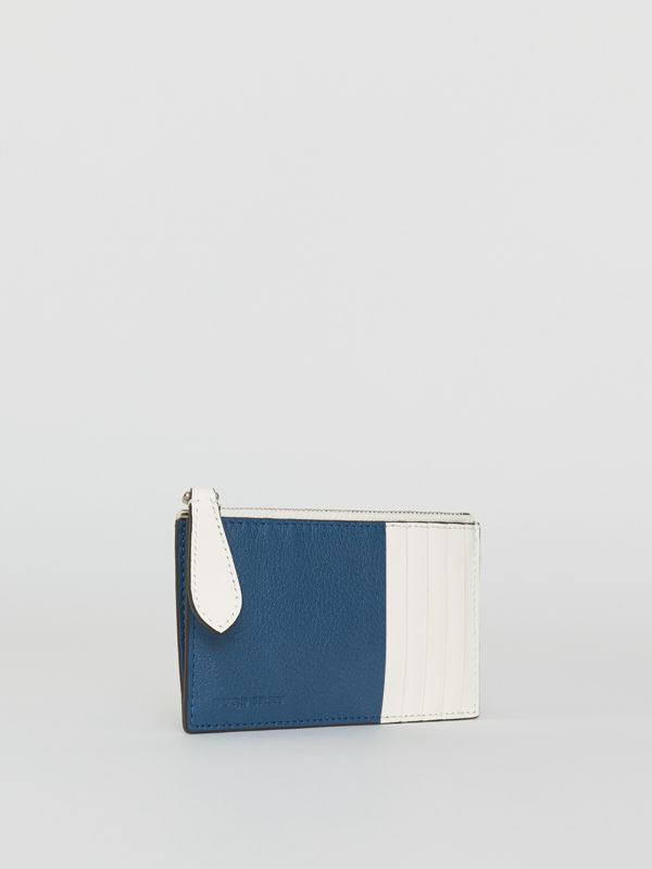 Two-tone Leather Zip Card Case in Peacock Blue | Burberry - cell image 3