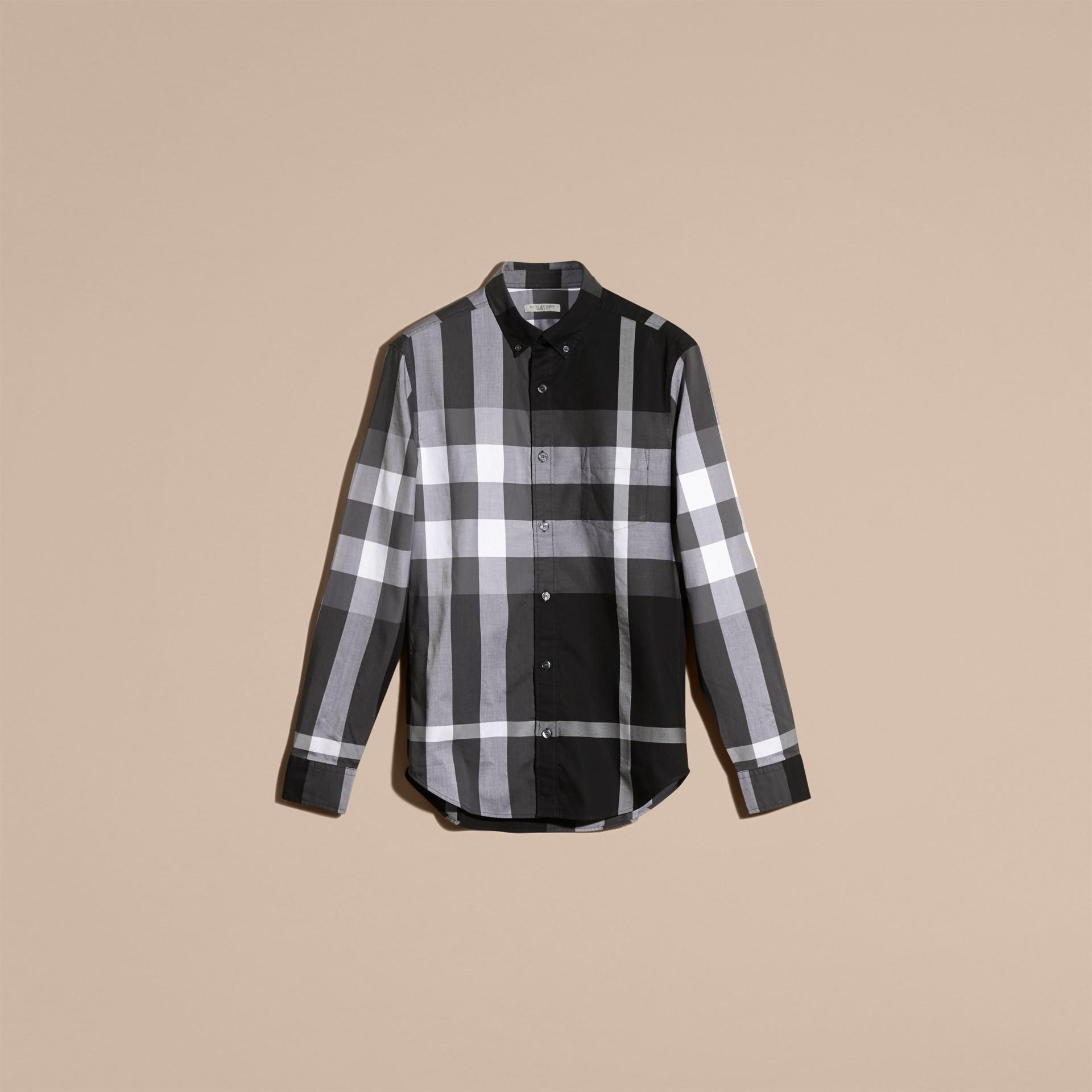 Nero Camicia in cotone con motivo check Nero - immagine della galleria 4