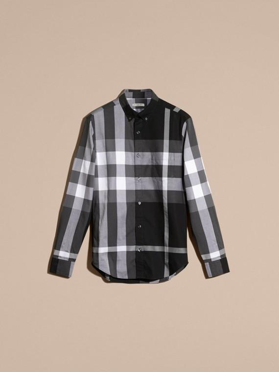 Noir Chemise en coton à motif check Noir - cell image 3