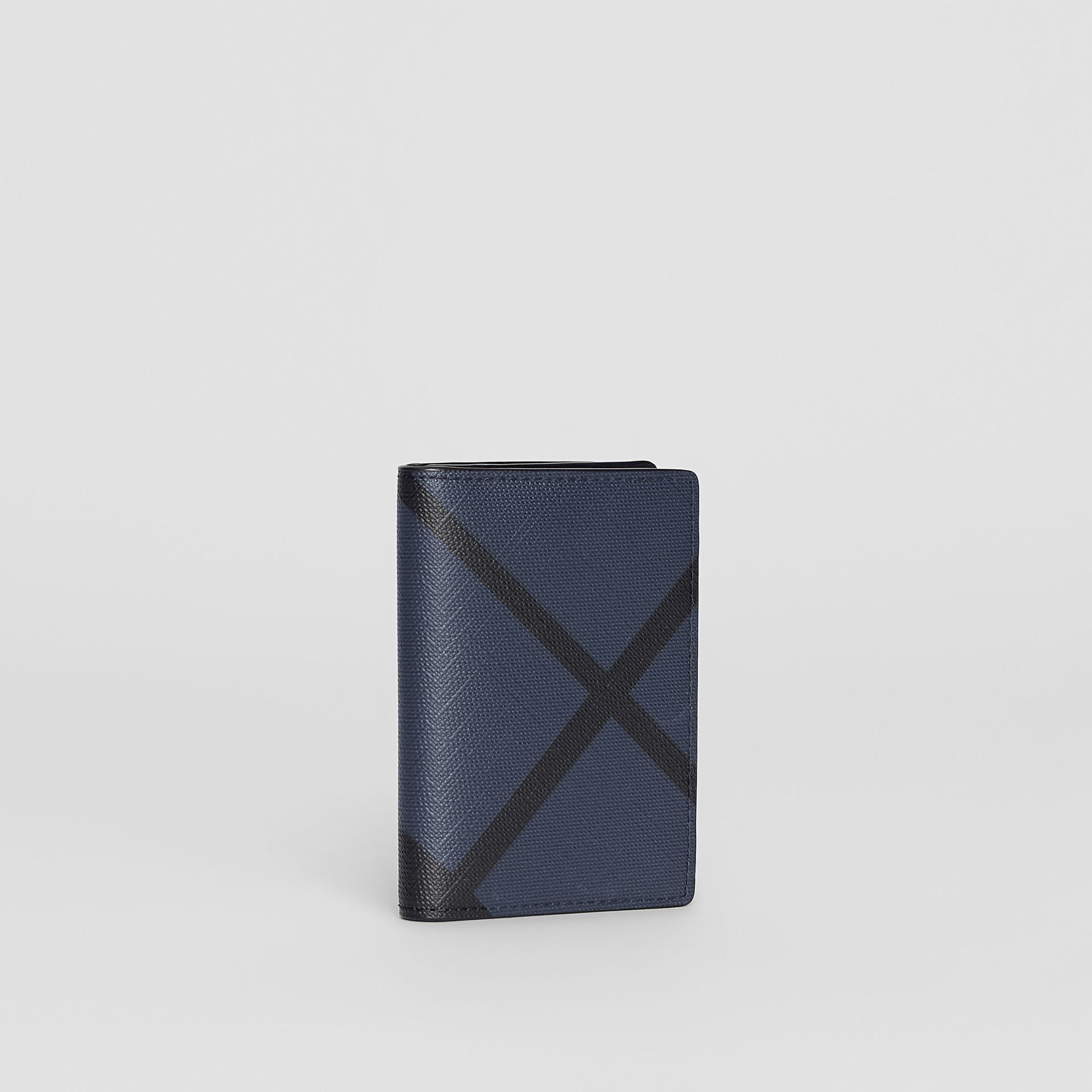London Check and Leather Folding Card Case in Navy/black - Men | Burberry - gallery image 4