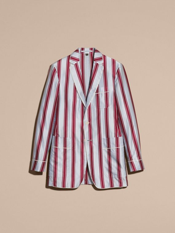 Light blue Unlined Striped Cotton Silk Blazer - cell image 3
