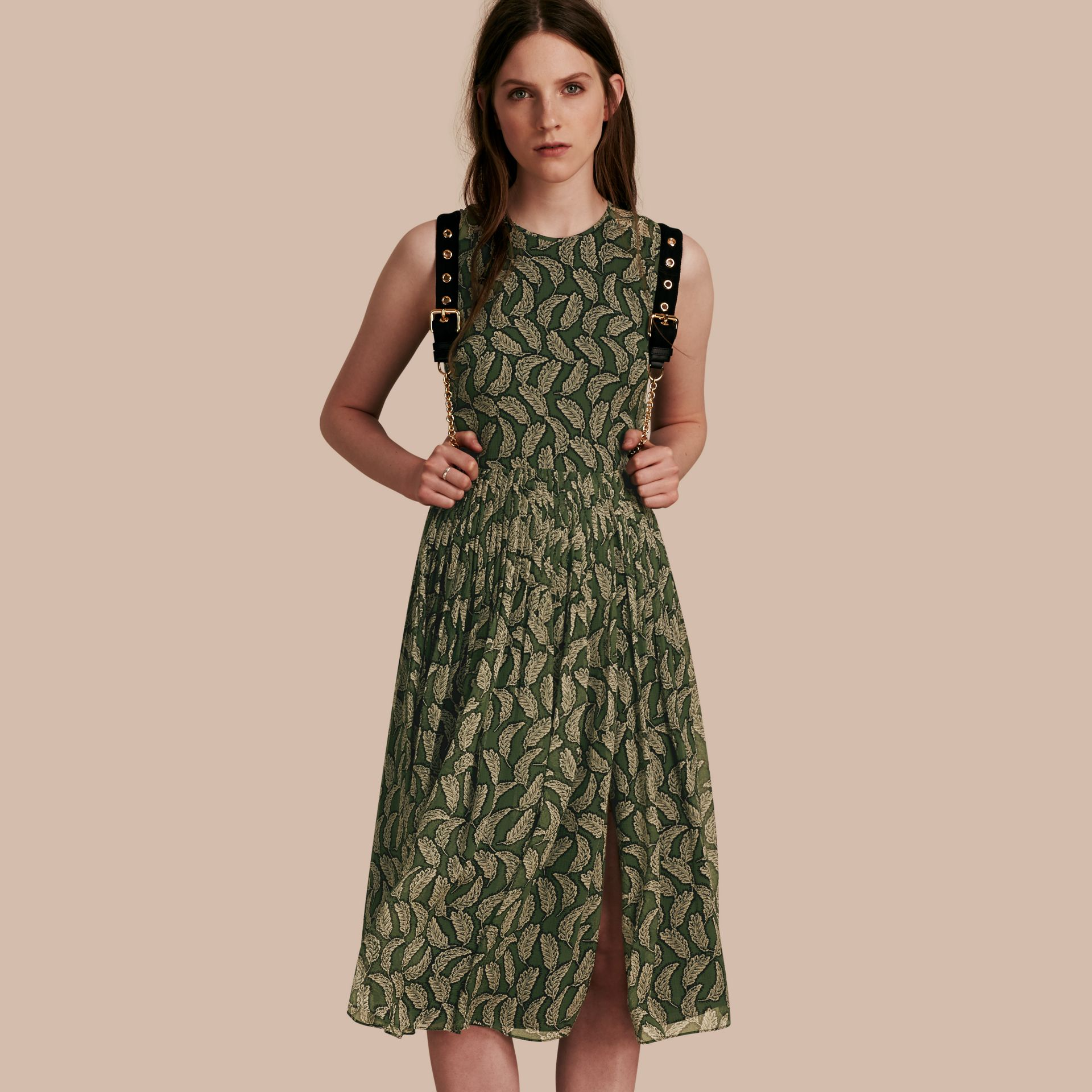 Dusty green Leaf Print Silk Midi Dress - gallery image 1