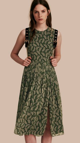 Leaf Print Silk Midi Dress