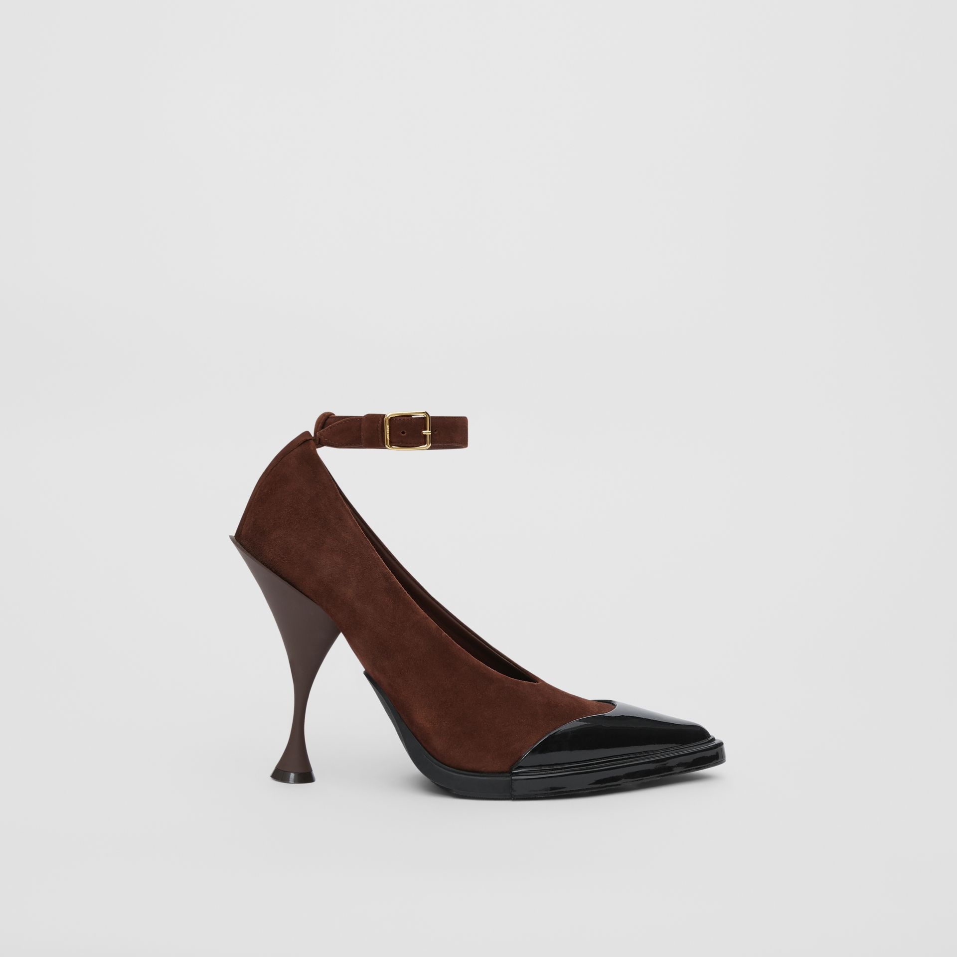 Toe Cap Detail Leather Point-toe Pumps in Dark Mocha - Women | Burberry United Kingdom - gallery image 5