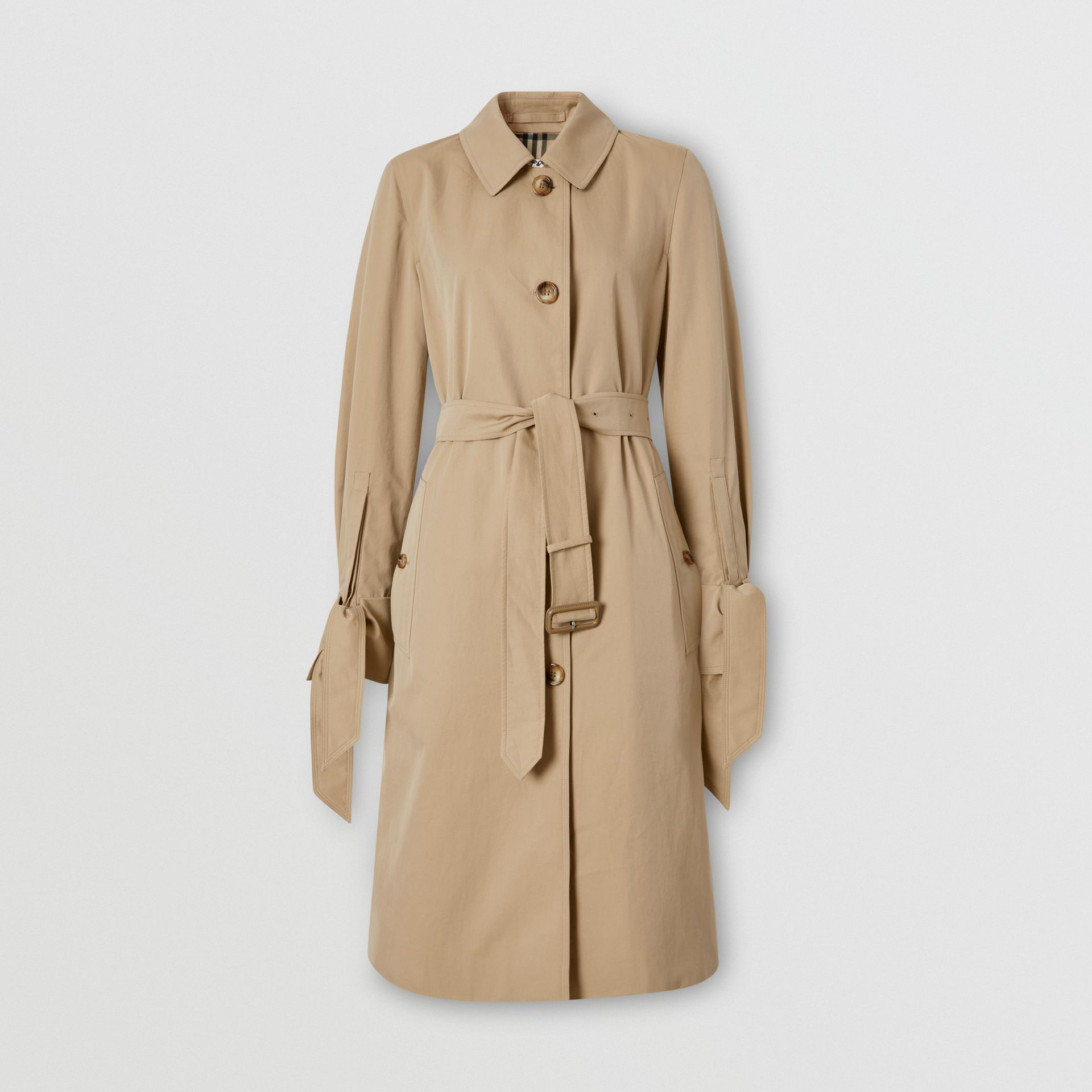 Tropical Gabardine Car Coat in Honey - Women | Burberry - gallery image 3