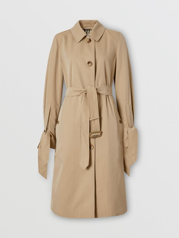 Tropical Gabardine Car Coat in Honey - Women | Burberry - cell image 3