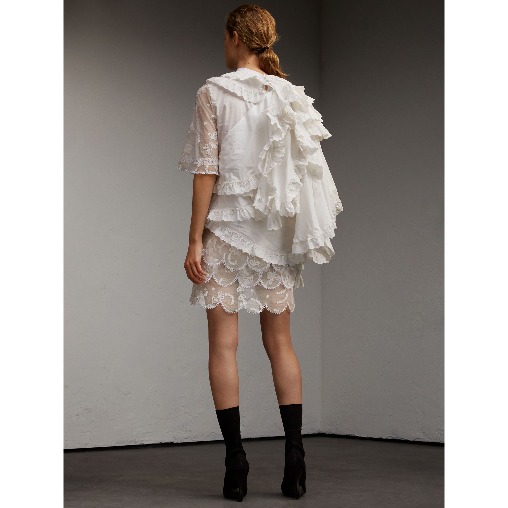 Broderie Anglaise Ruffle Cotton and Lace Dress - gallery image 3