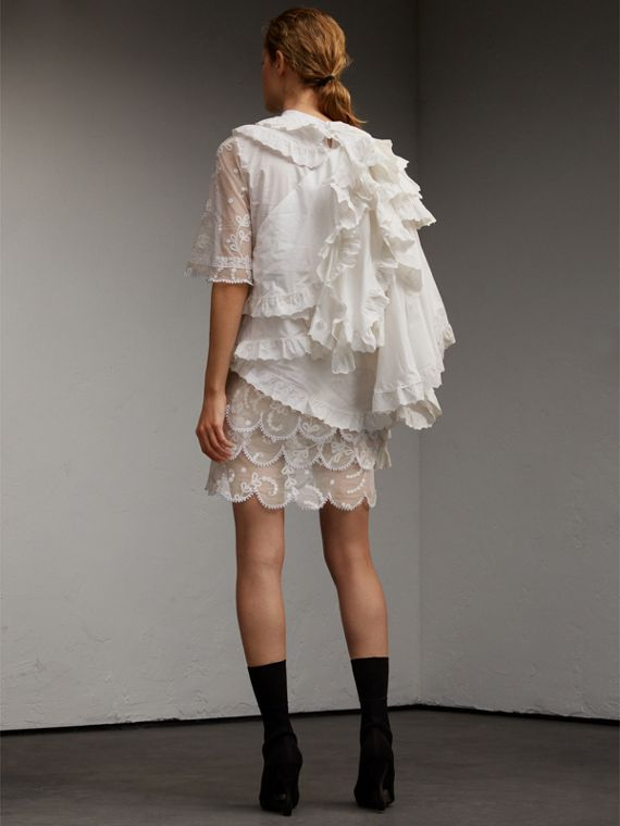Broderie Anglaise Ruffle Cotton and Lace Dress - cell image 2