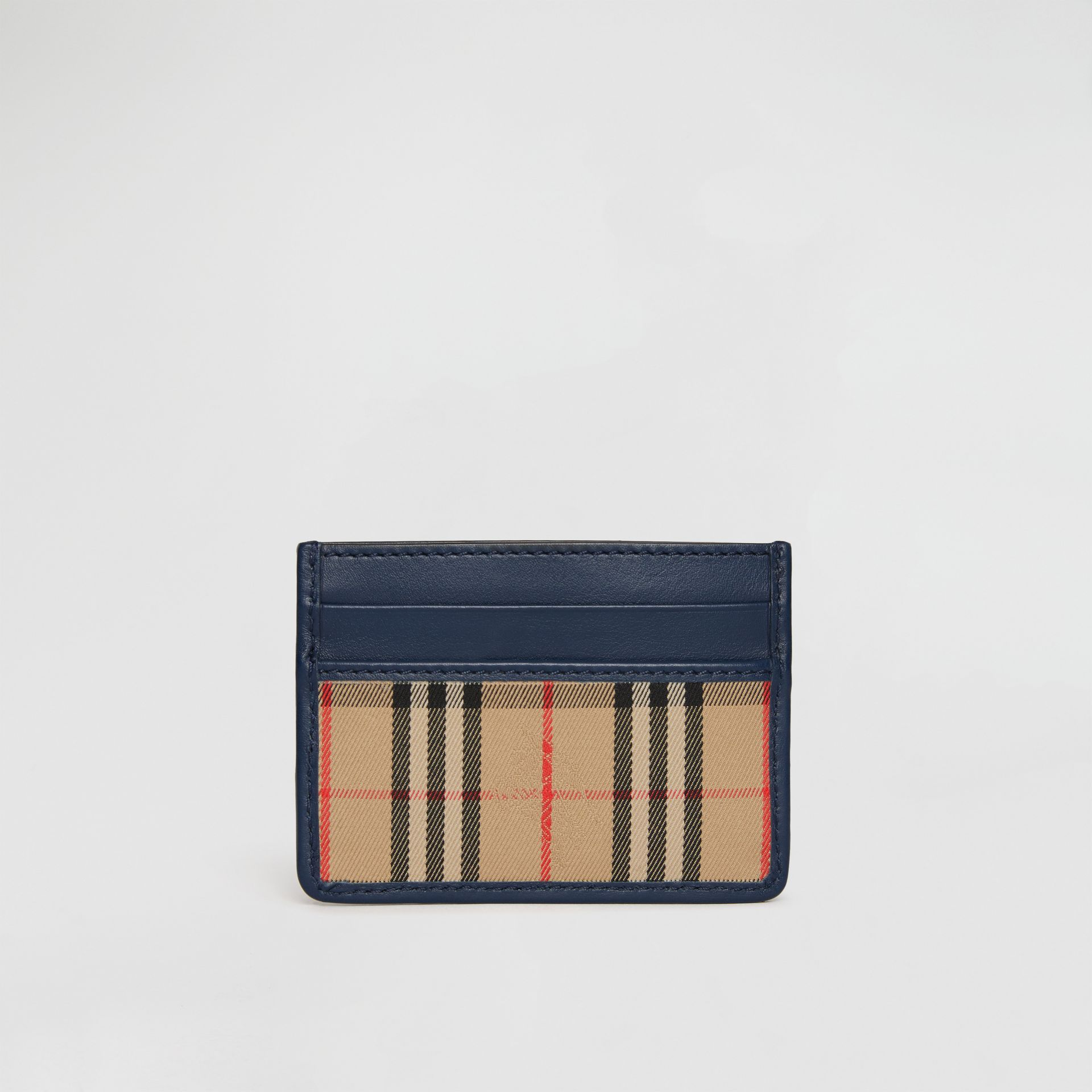 1983 Check and Leather Card Case in Ink Blue | Burberry - gallery image 5
