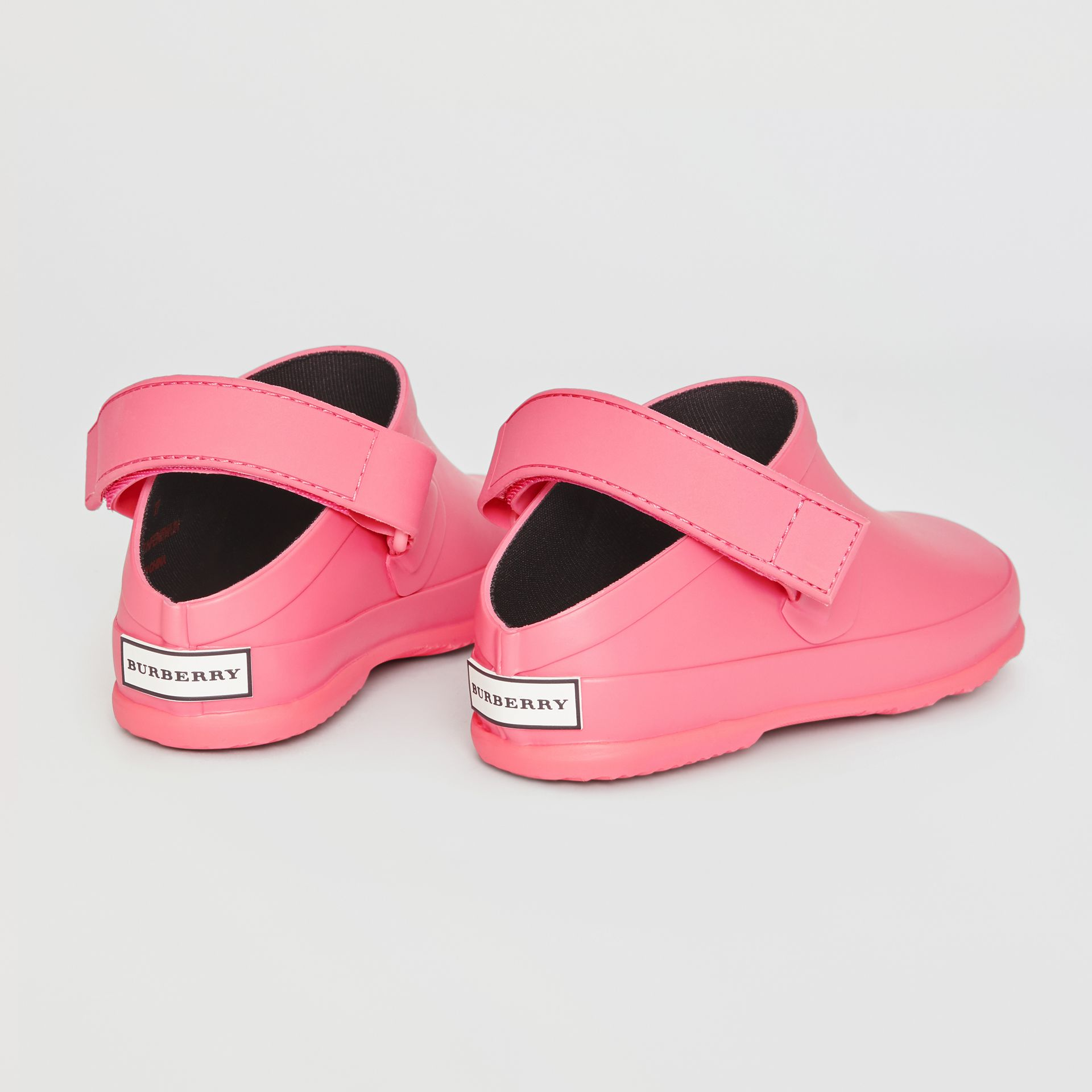 Check Detail Rubber Sandals in Bright Rose - Children | Burberry - gallery image 2