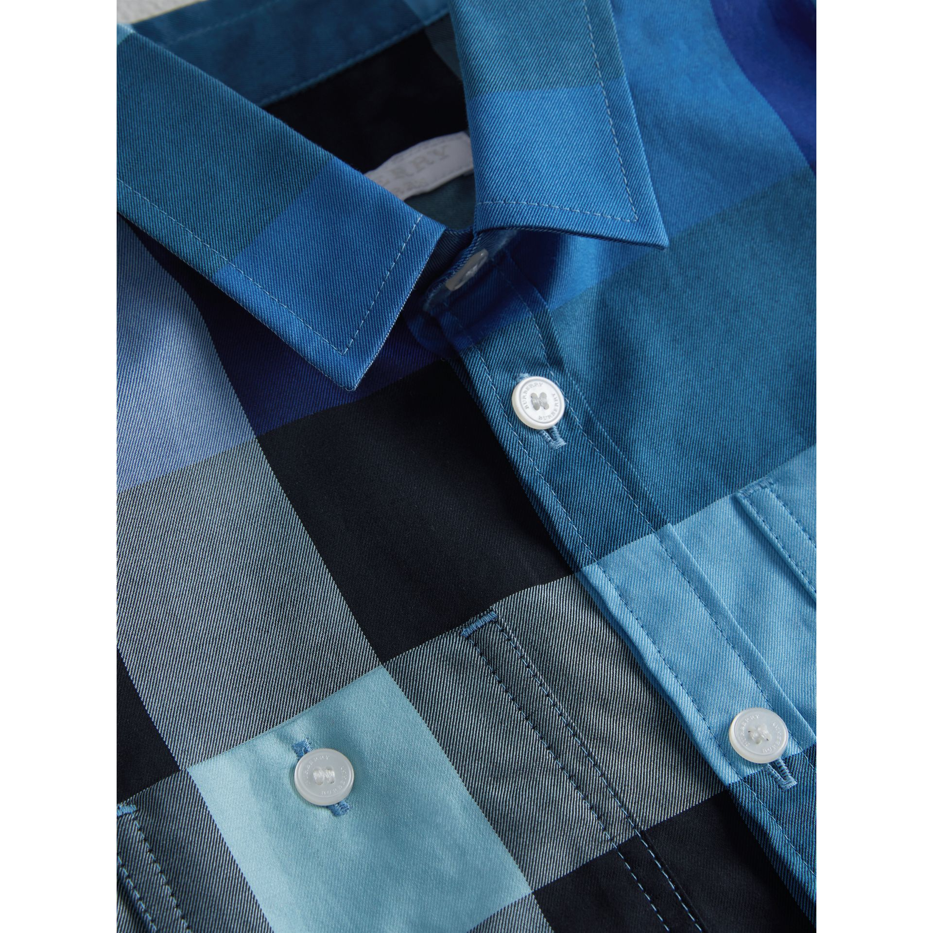 Short-sleeve Check Cotton Shirt in Light Azure | Burberry - gallery image 1