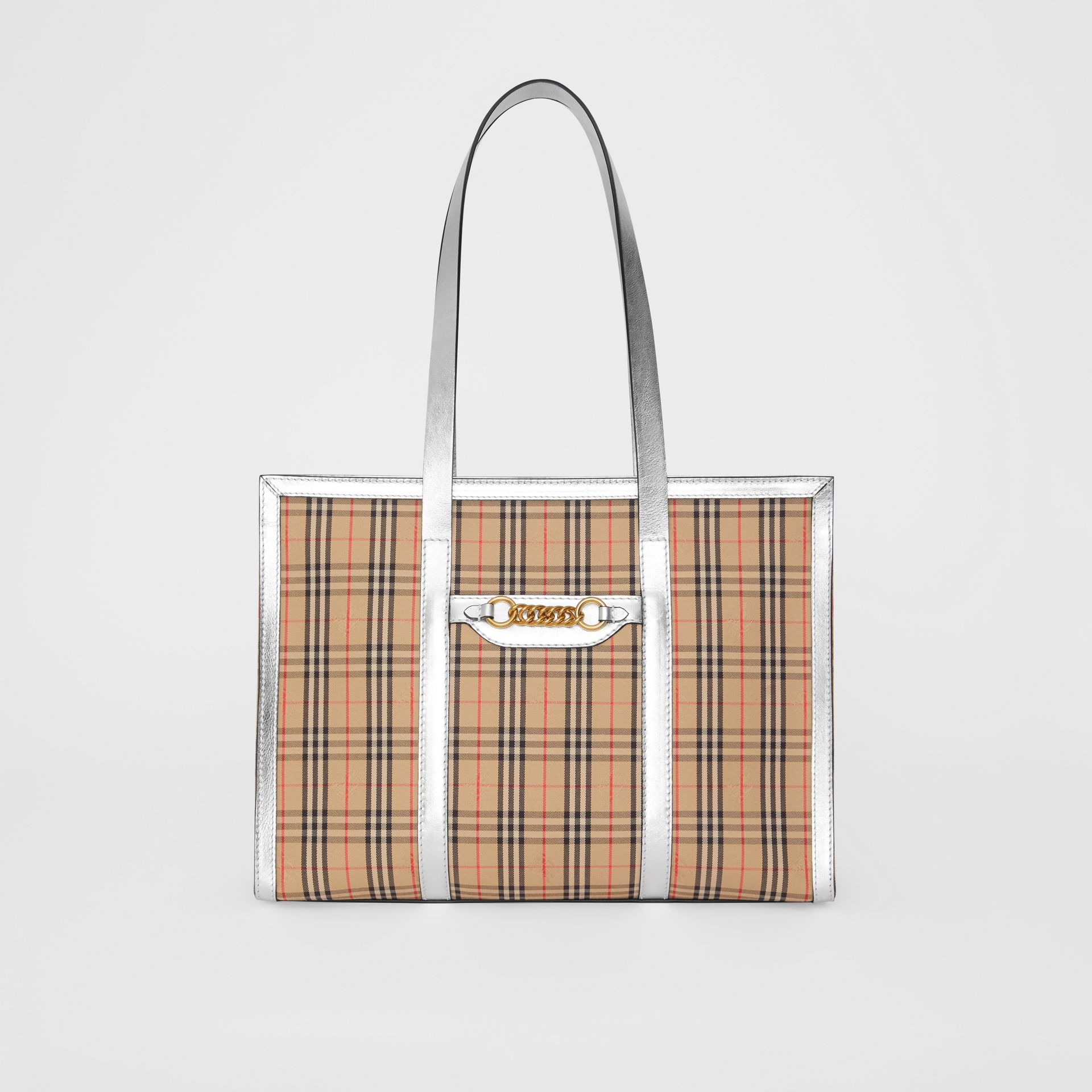 The 1983 Check Link Tote Bag in Silver - Women | Burberry Australia - gallery image 0