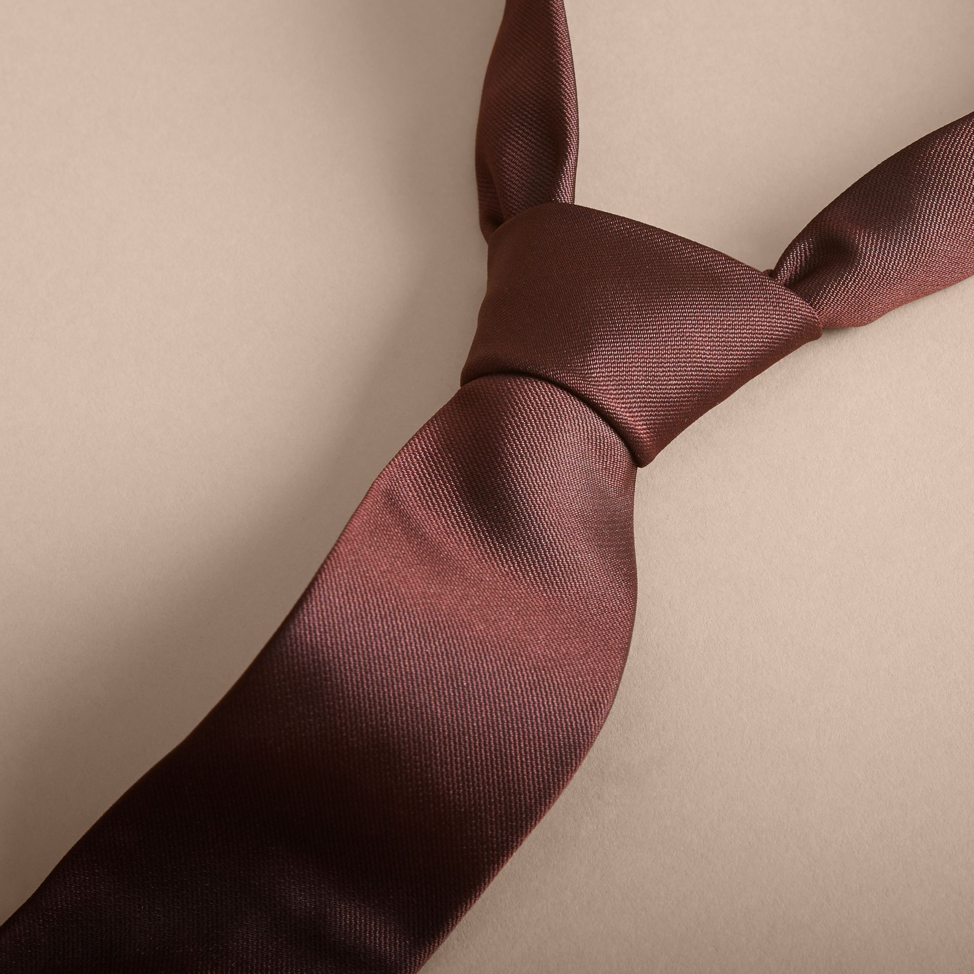 Modern Cut Silk Twill Tie in Deep Claret - Men | Burberry Australia - gallery image 2