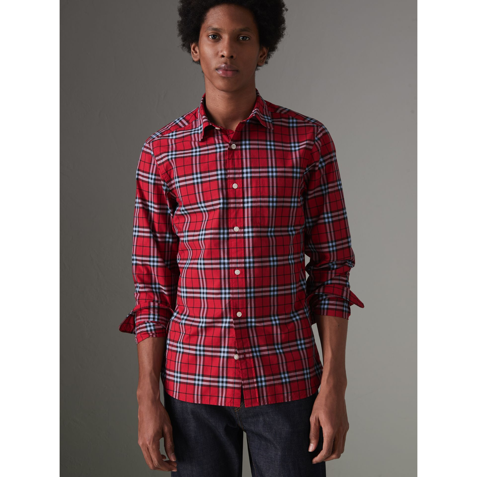 Check Cotton Shirt in Bright Red - Men | Burberry Canada - gallery image 4