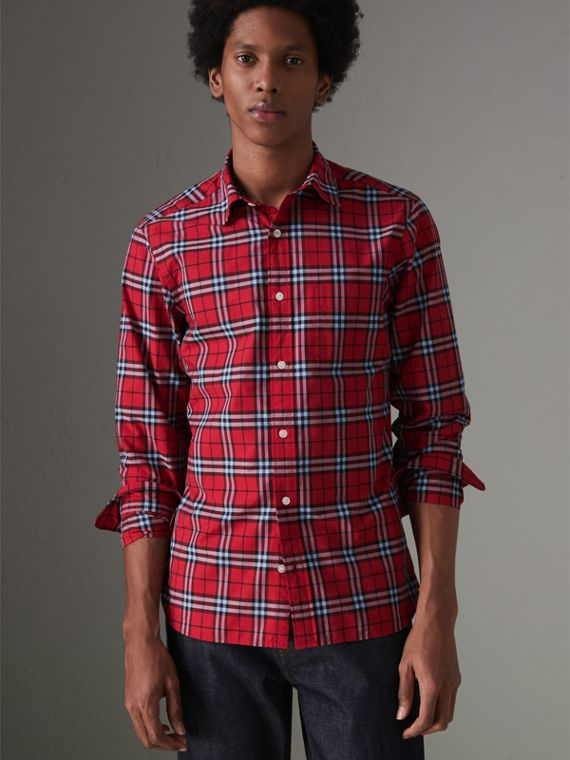 Check Cotton Shirt in Bright Red