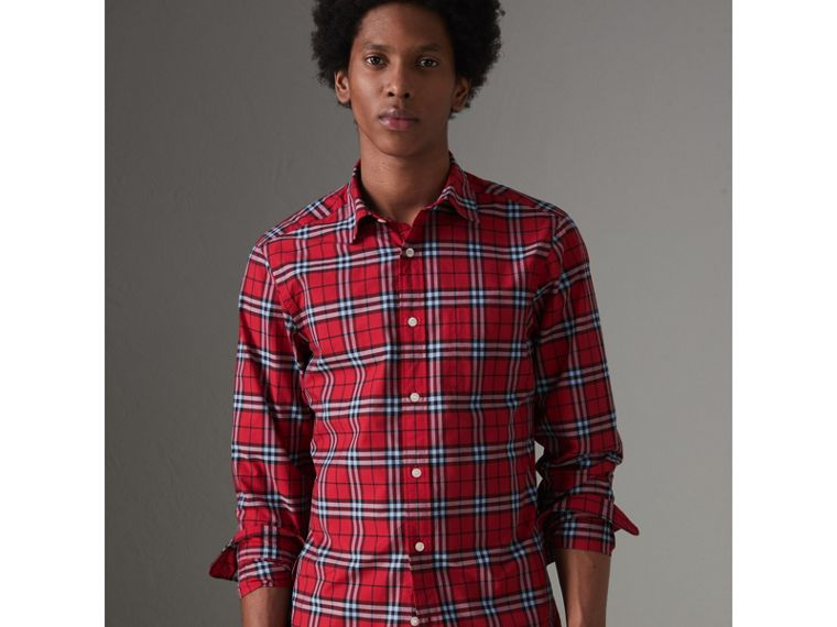 Check Cotton Shirt in Bright Red - Men | Burberry Canada - cell image 4