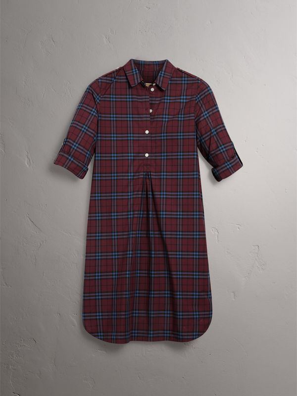 Check Cotton Tunic Dress in Crimson Red - Women   Burberry - cell image 3