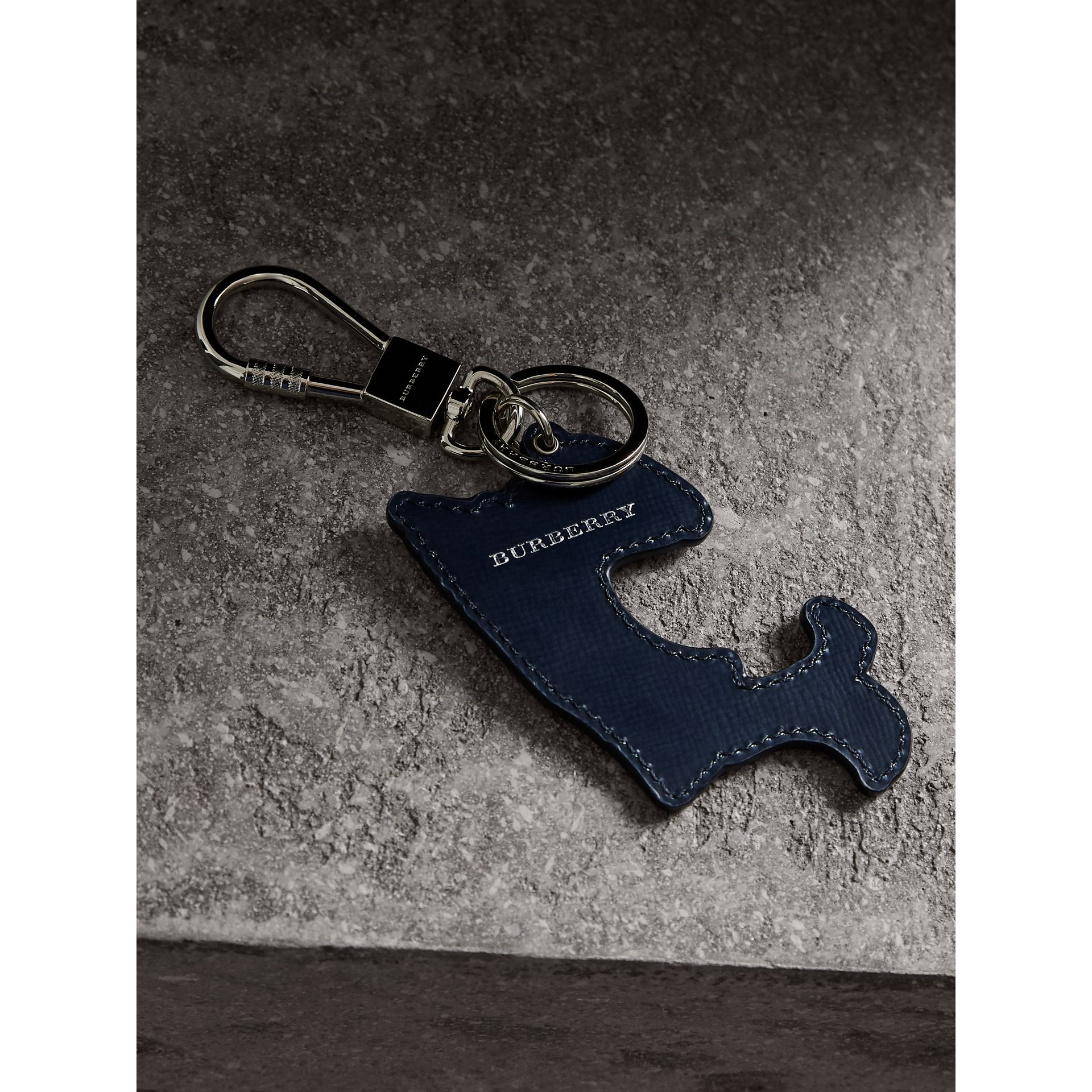 Beasts Leather Key Ring in Coral Red | Burberry - gallery image 3