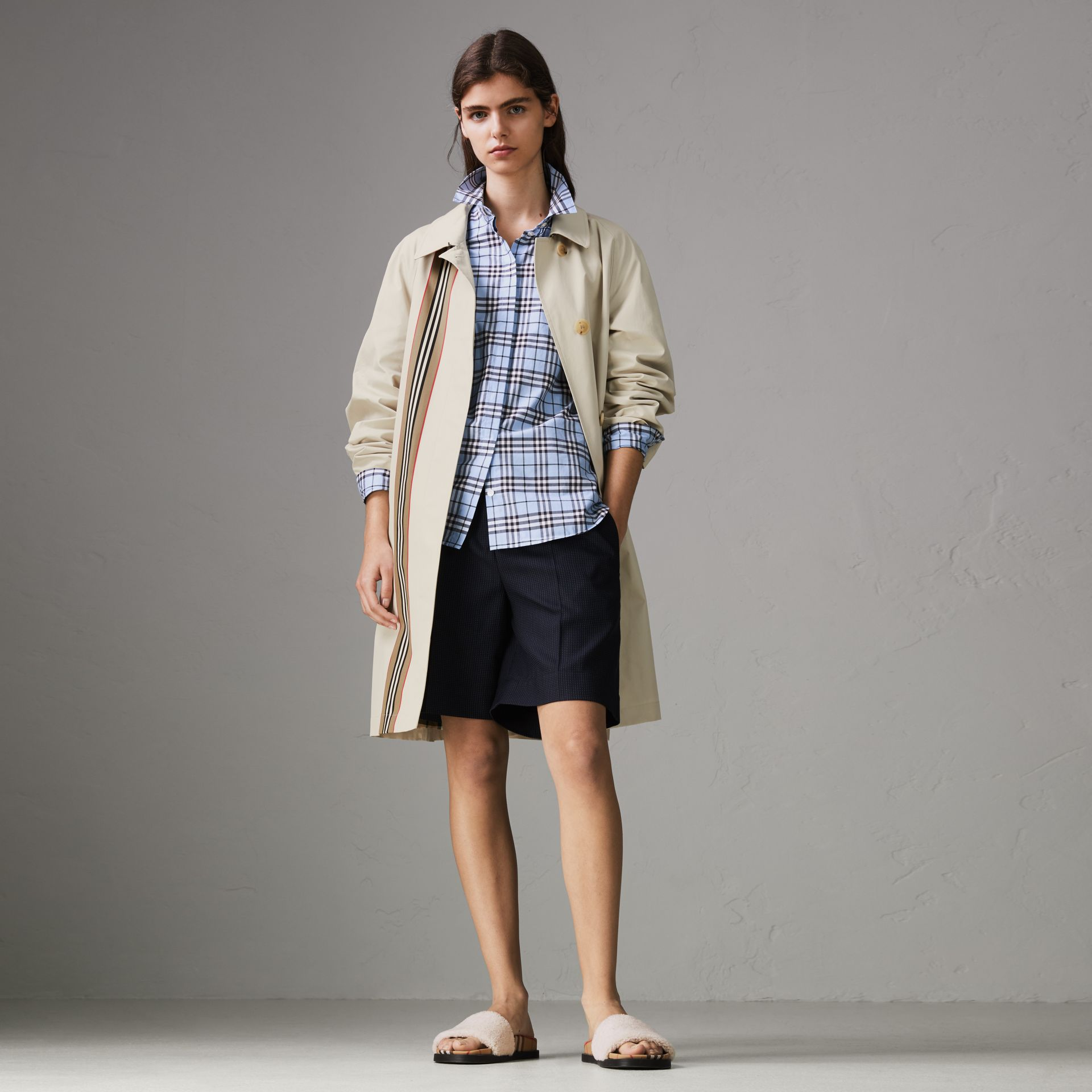 Check Cotton Shirt in Sky Blue - Women | Burberry United States - gallery image 0