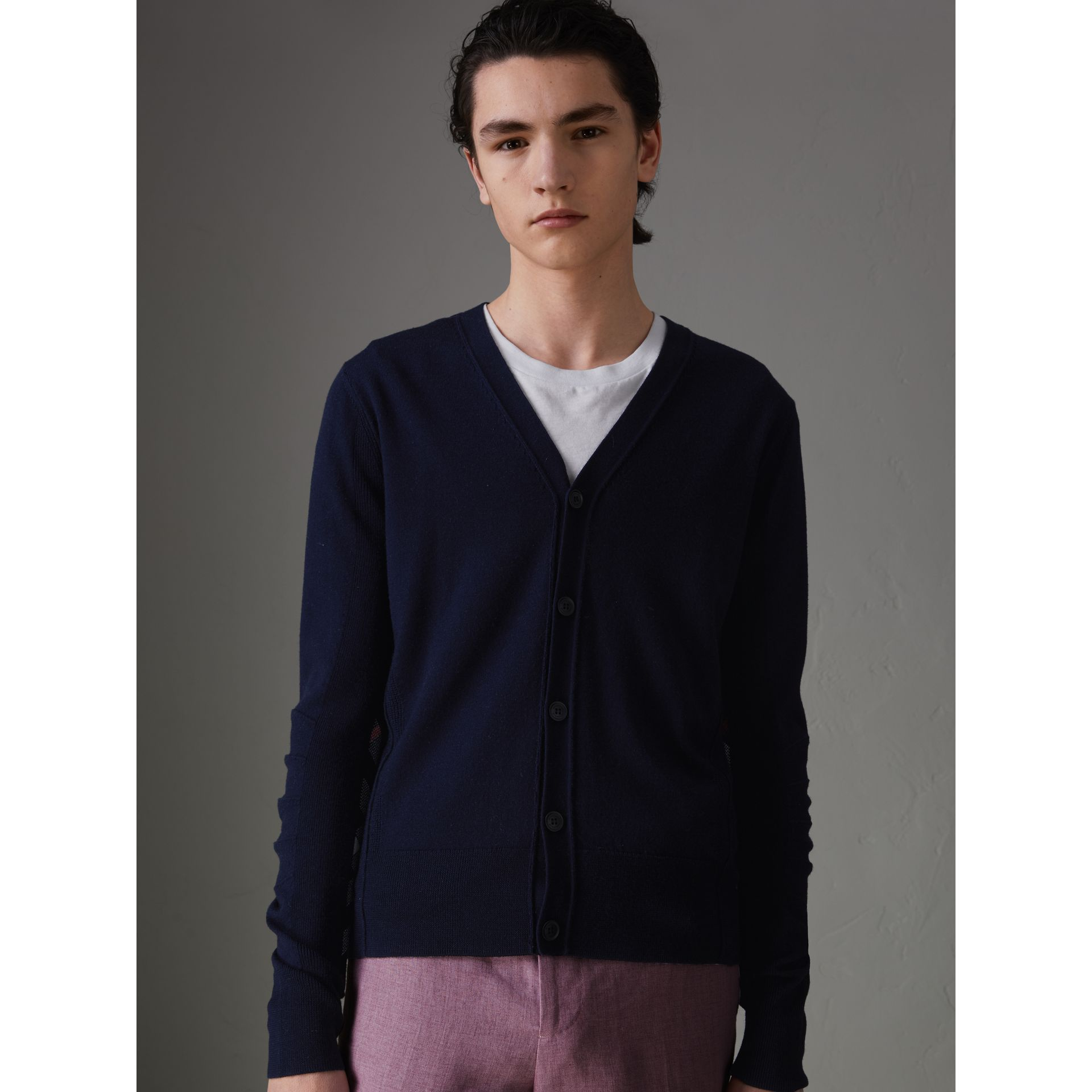 Check Detail Merino Wool Cardigan in Navy - Men | Burberry Singapore - gallery image 4