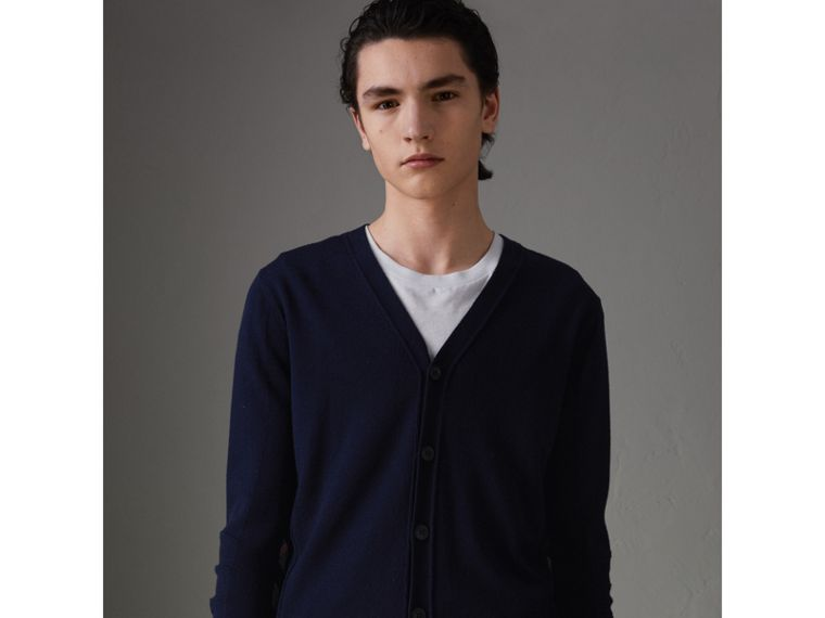 Check Detail Merino Wool Cardigan in Navy - Men | Burberry Singapore - cell image 4