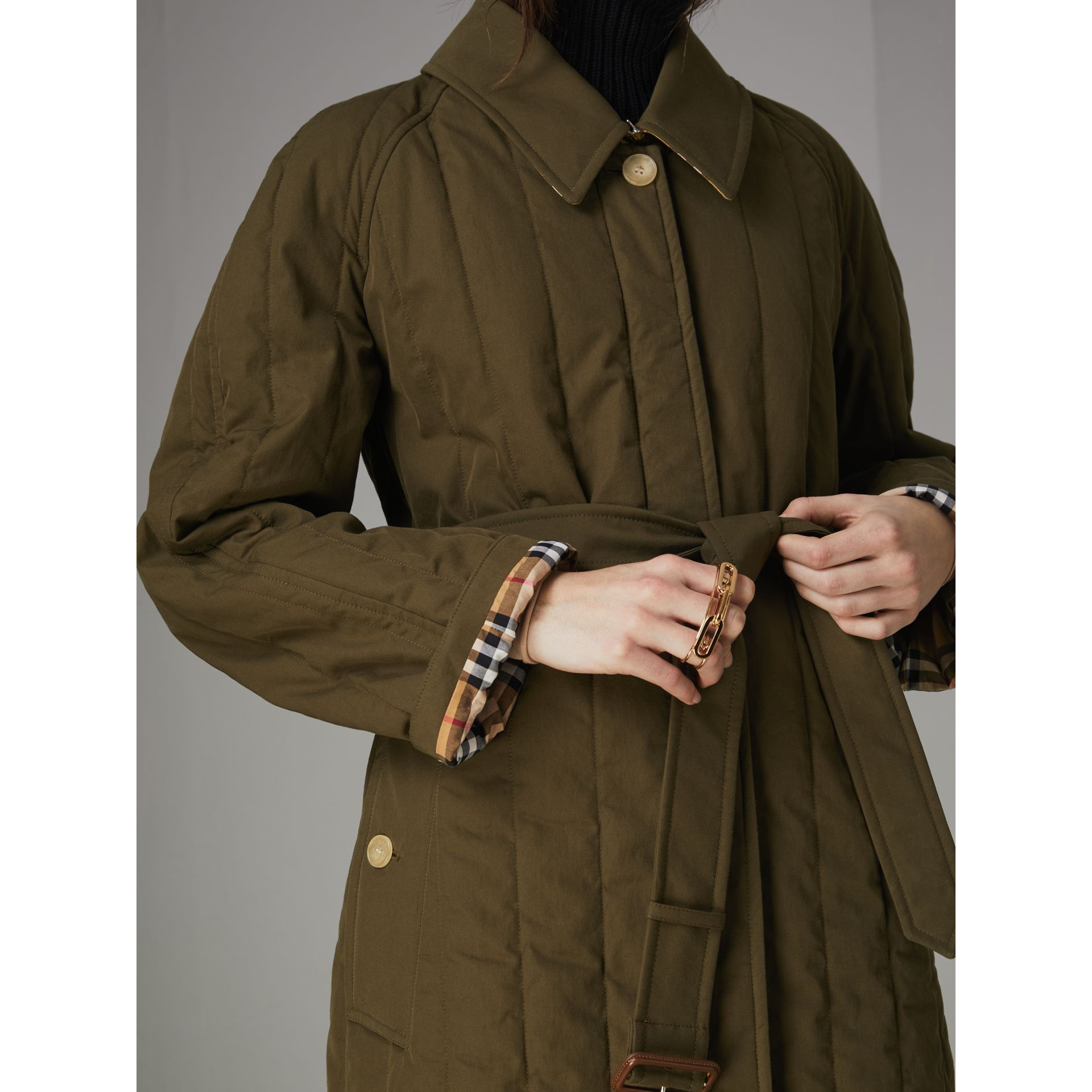 Quilted Tropical Gabardine Car Coat in Dark Military Khaki - Women | Burberry Australia - gallery image 1