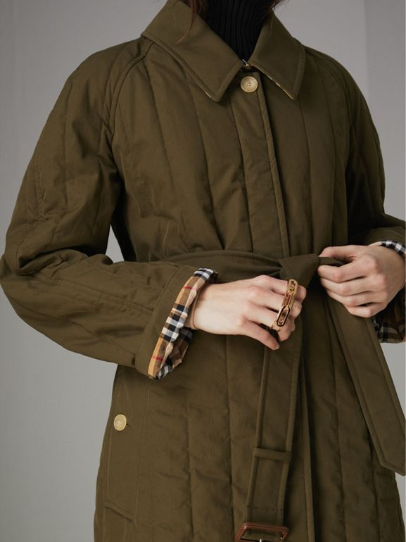 Quilted Tropical Gabardine Car Coat in Dark Military Khaki - Women | Burberry - cell image 1