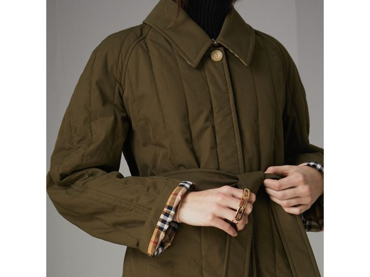 Quilted Tropical Gabardine Car Coat in Dark Military Khaki - Women | Burberry Canada - cell image 1