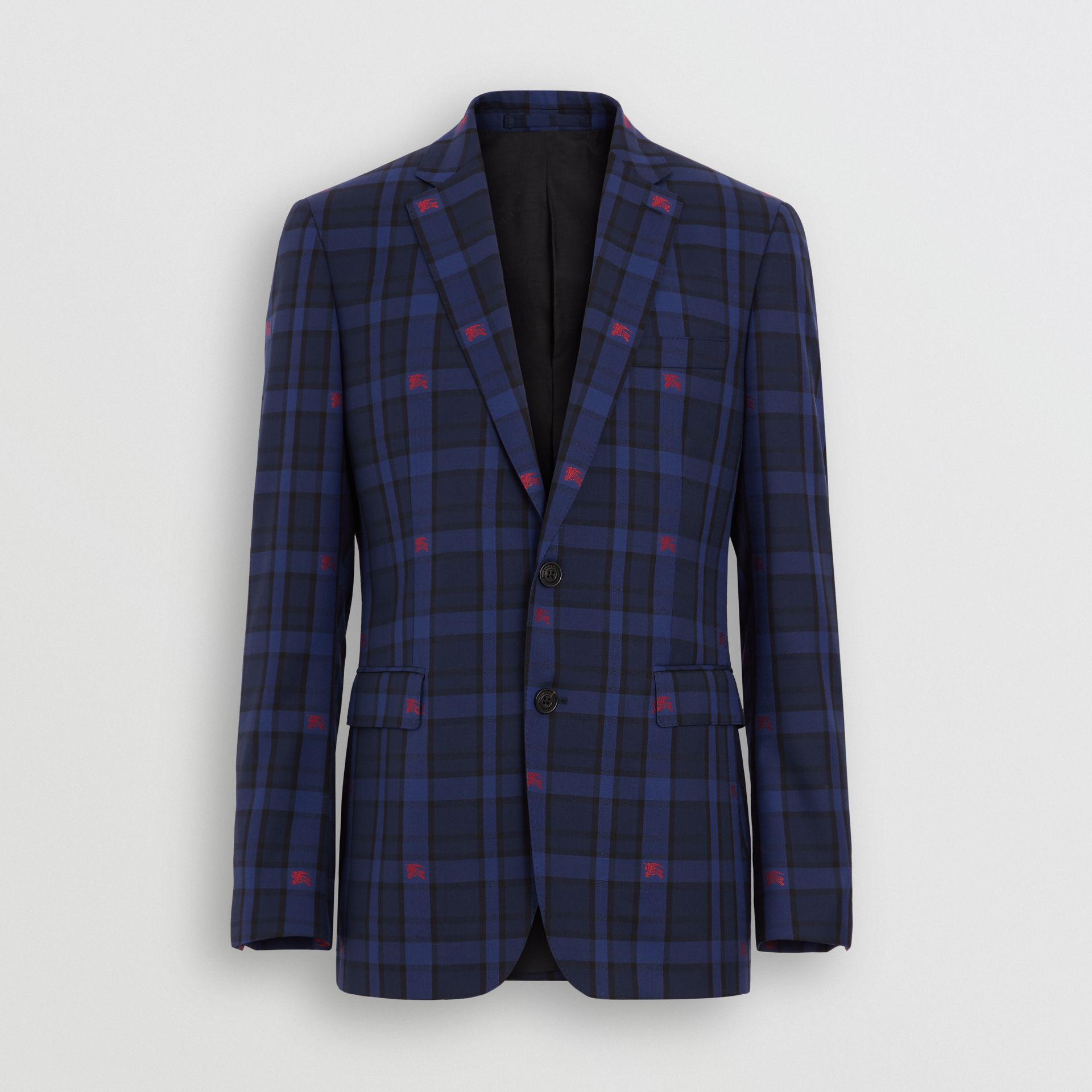 Slim Fit EKD Check Wool Tailored Jacket in Dark Indigo - Men | Burberry Singapore - gallery image 2