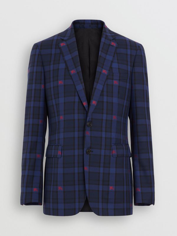 Slim Fit EKD Check Wool Tailored Jacket in Dark Indigo - Men | Burberry - cell image 2