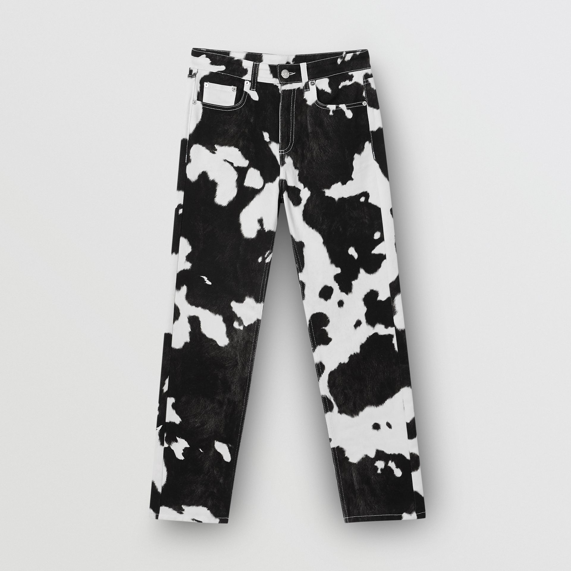 Straight Fit Cow Print Jeans in Black - Women | Burberry United Kingdom - gallery image 3