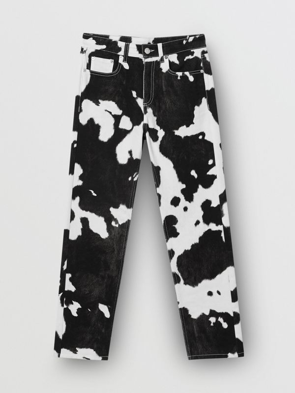 Straight Fit Cow Print Jeans in Black - Women | Burberry - cell image 3