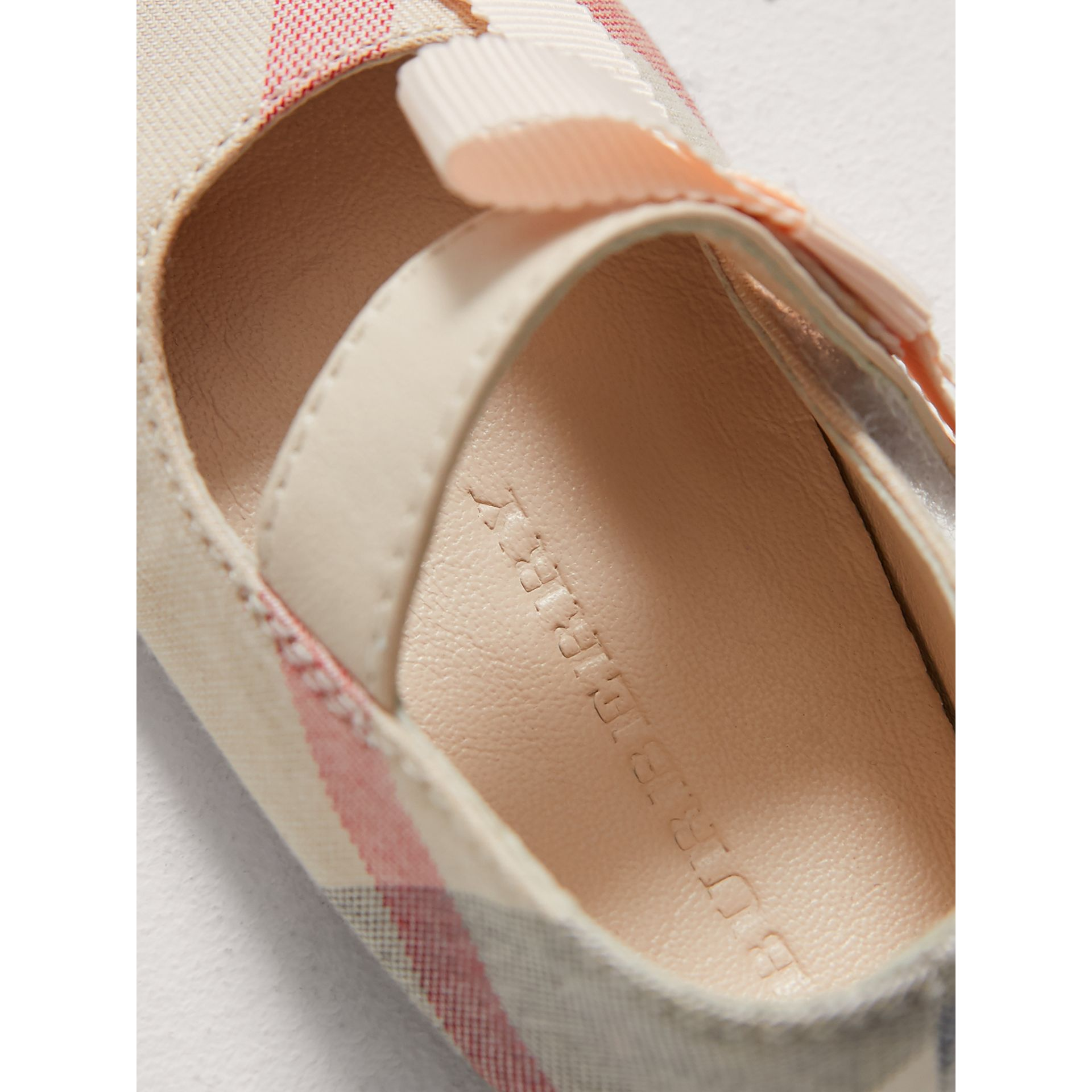 Bow Detail Check Cotton and Leather Ballerinas in Pale Classic | Burberry Canada - gallery image 1